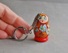 """Turned Wood Russian Doll Keychain 1 5/8"""" Miniature Red Painted  Nesting Style"""