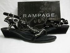 Rampage Size 11 M Freeway Black Faux Suede Ankle Strap Sandals New Womens Shoes