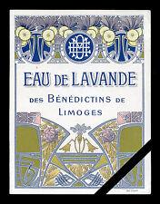 Original French Vintage Perfume Label: Art Deco Antique Eau De Lavande Paris