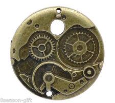 5PCs Gift Charm Pendants Round Mechanical Gear Clock Bronze Tone 38mm Dia