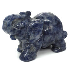 "2"" Blue Spot Jade Elephant Carved Statue Gemstone Animal Figurine Stone Crafts"