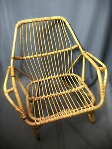 Rattan Bamboo Vintage Low Profile Lounge Chair Patio Deck Lawn Armrest Seat