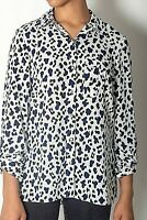 NEW WOMENS EX DOROTHY PERKINS WHITE LEOPARD PRINT POCKET SHIRT BLOUSE SIZE 8-14