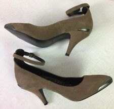 FREE PEOPLE  Suede Taupe Brown,Metal Toe&Top, AnKle Strap, Heels Shoes SZ 7