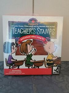 Rubber Stampede Peanuts Snoopy Teacher's Stamps 8Stamps,Ink Pad & Sticker Labels