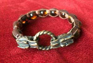 Leather Baltic Amber Wolf Bronze Bracelet