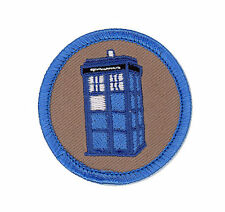 Dr. Who Tardis Police box time machine patrol boy scout badge Iron on backing