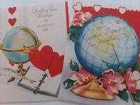 2 Vtg 1950s WORLD GLOBE For TEACHER Mid Century VALENTINE GREETING CARDS