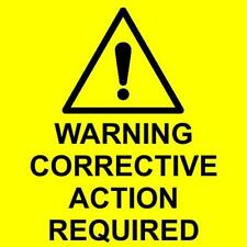 Warning Corrective Action required labels self adhesive vinyl 75 x 75mm