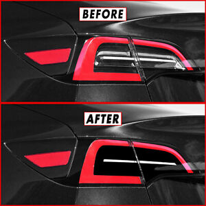 FOR 17-21 Tesla Model 3 Tail Light w/ Reverse & Signal Cutout GLOSS BLACK Vinyl