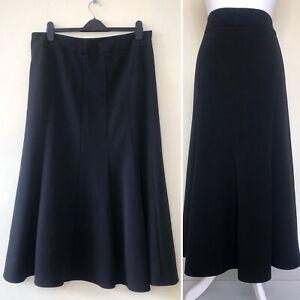 East Women Skirt UK 16 Black Midi Heavyweight A Line Formal Work Smart Lined