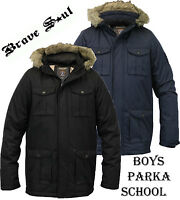 Boys Jacket Parka Brave Soul Kids School Hooded Fur Lined Winter New