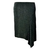 EX.DEBENHAMS BLACK METALLIC STRIPE ASYMETRIC SKIRT Sizes 12-18