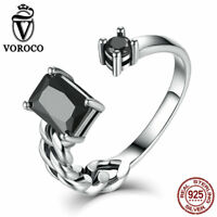 Voroco REAL 925 Sterling Silver Open Finger Ring With Black CZ For Women Jewelry