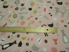 2 Yards Pink Riley Blake Meow Cat Theme Flannel Fabric