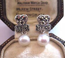 Vintage Estilo Eduardiano joyas de plata de ley Marcasita Pendientes de Perla Real