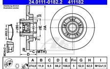 1x ATE Disco de Freno Trasero Pleno 274mm 24.0111-0182.2