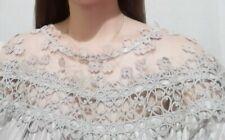 Crochet lace detailed silk-blend Top