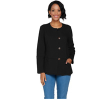 Denim & Co. French Terry Long Sleeve Button Front Jacket Black Color Size M