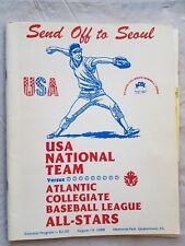 1988 Team USA National Baseball Olympic Program vs Atlantic Collegiate All stars