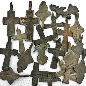 20+ Medieval Cross Pendants & Fragments Byzantine Russian Artifact Orthodox A