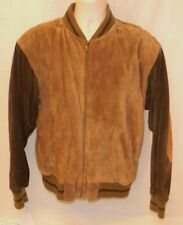 Roundtree & Yorke Leather Suede Bomber Jacket Medium Men's Long Sleeve Brown