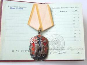 Soviet RUSSIA USSR SILVER Order Badge of Honor with CERTIFICATE !