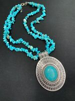 """Necklace Bohemian Large Turquoise Chip Stone Chain Chunky Tibetan Silver 16"""""""