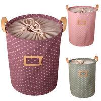 Waterproof Cotton Linen Storage Bag Wash Clothes Laundry Basket Sorter Holder