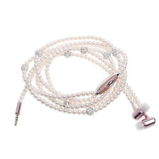 Luxury Bling Diamond Pearl Necklace Chain Earphone Super Stereo Earbud Headset