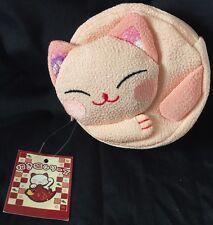 NWT Japanese Pink Maneki Neko Lucky Cat Coin Purse Zipper Bag Chirimen FreeShip