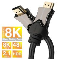 V2.1 HDMI Cable Lead For 8K 120hz HDR Ultra High Speed 48Gbps 1.5, 3, 6, 10FT