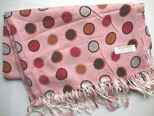 NEW Pashmina Winter Scarf Scarves Silk Salmon Pink Red Large Polkadot Shawl Wrap