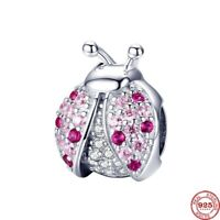 Kristall Käfer Charm für Armband Echt 925 Sterling Silber Modeschmuck