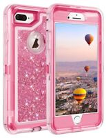 For iPhone 8 /8 Plus Shockproof Liquid 3D Glitter Rugged Case Fit Otterbox clip