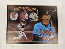 """Signed 500th Home Run REGGIE JACKSON Lithograph 26"""" x 21"""" - PSADNA Certified"""