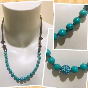 turquoise Shambala Bead Braided Brown Leather Adjustable Necklace