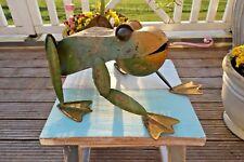 Großer Frosch Garten Teich Deko Figur Kröte Eisen Retro Vintage 20x41x33cm g NEU