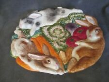 "G1 Fitz & Floyd 1996 Rabbit Bunny Border 10"" Oval Plate"