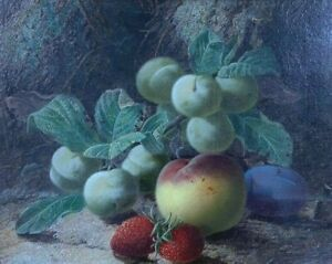 Oliver Clare Oil On Canvas Still Life Study Of Fruit  Against A Mossy Background