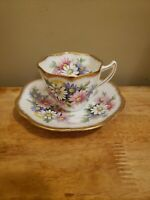 Rosina Bone China Cup and Saucer Colorful Daisy Pattern Gold Trim England