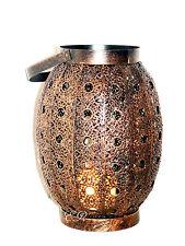 Windlicht Laterne Glas Metall Gartenlaterne Straßenlaterne Orient Kupferfarbe
