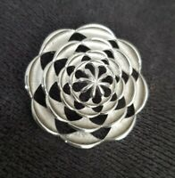 Vintage Signed SARAH COVENTRY Brooch Silver Circle Shield Geometric Design