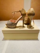Prom Shoes Size 7 1/2,Gold With Crysrals,Used 1 Time,
