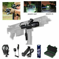 Tactical 5000lm LED XM-L T6 Zoomable Flashlight USB Hunting Torch Rifle Gun Lamp