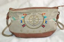 GUCCI Bag Vintage Beige Canvas with Embroidery Brown Leather Trim