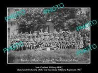 POSTCARD SIZE PHOTO OF NEW ZEALAND MILITARY WWI 3rd AUCKLAND REGIMENT BAND 1917