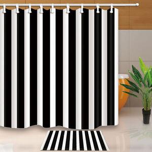 Simple Black White Stripes Bathroom Waterproof Fabric Shower Curtain & 12 Hooks