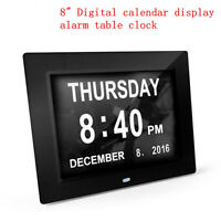 "8"" Black LED Dementia Digital Calendar Day Clock Large Time Day/Week/Month AY"