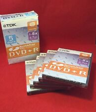 TDK 1 - 8 x 4.7 GB DVD + R Recordable Discs - 5 Discs - New & Sealed